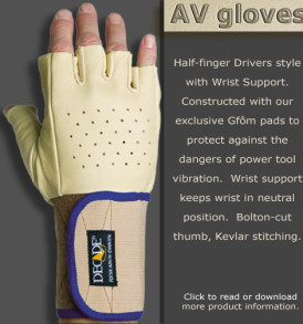 Half Finger Drivers anti vibration gloves with wrist support