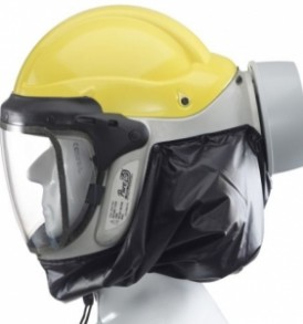 PAPR respirator helmet with hard hat and P3 filter
